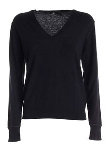 Seventy - Lamé edges pullover in black