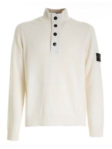 Stone Island - Logo patch pullover in ivory color