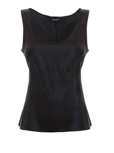 Emporio Armani - Silk satin tank top in black
