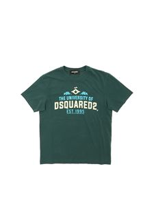 Dsquared2 - T-shirt verde stampa The University Dsquared 2