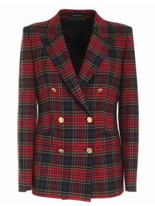 Tagliatore - Tartan double-breasted jacket in red and green