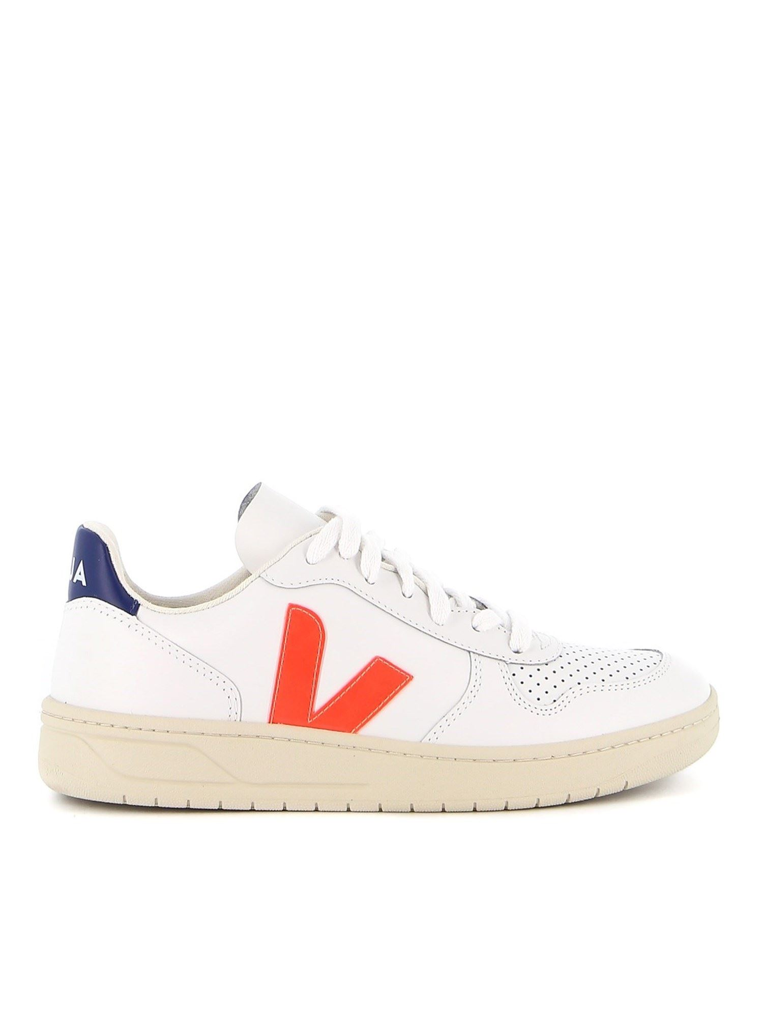 Veja Leathers V-10 NEON DETAILED SNEAKERS IN WHITE