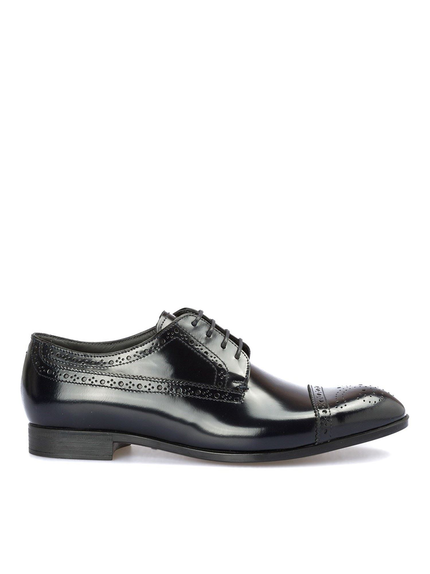 Emporio Armani Polished Leather Derby Shoes In Blue