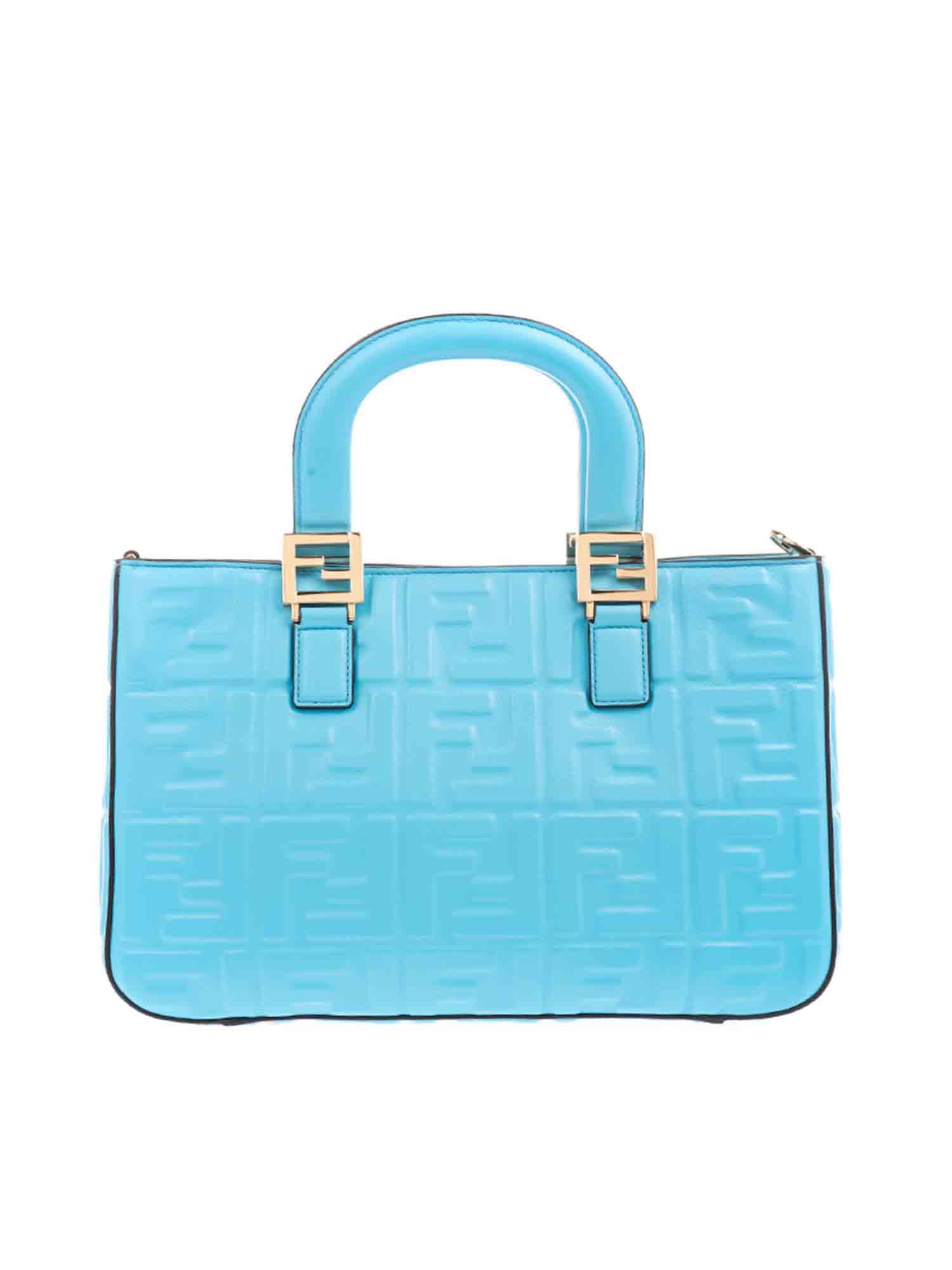 Fendi FF LOGO TEXTURED SMALL TOTE BAG IN TURQUOISE
