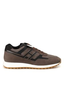 Hogan - H383 nubuck and mesh fabric sneakers in brown