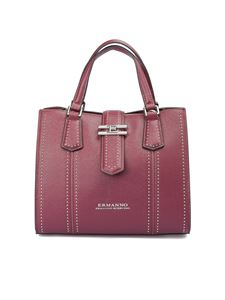 Ermanno Scervino - Grainy faux leather bowling bag in red