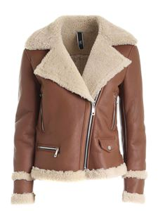 Hogan - Brown leather jacket featuring fur detail