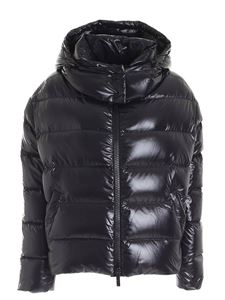 Hogan - Asymmetric black down jacket featuring hood