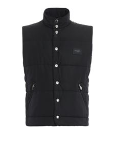 Dolce & Gabbana - Logo plaque padded vest in black