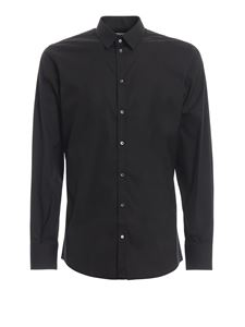 Dolce & Gabbana - Cotton blend stretch poplin black shirt in black