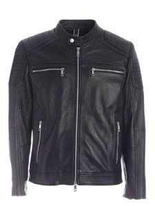 Hogan - Padded leather jacket in black