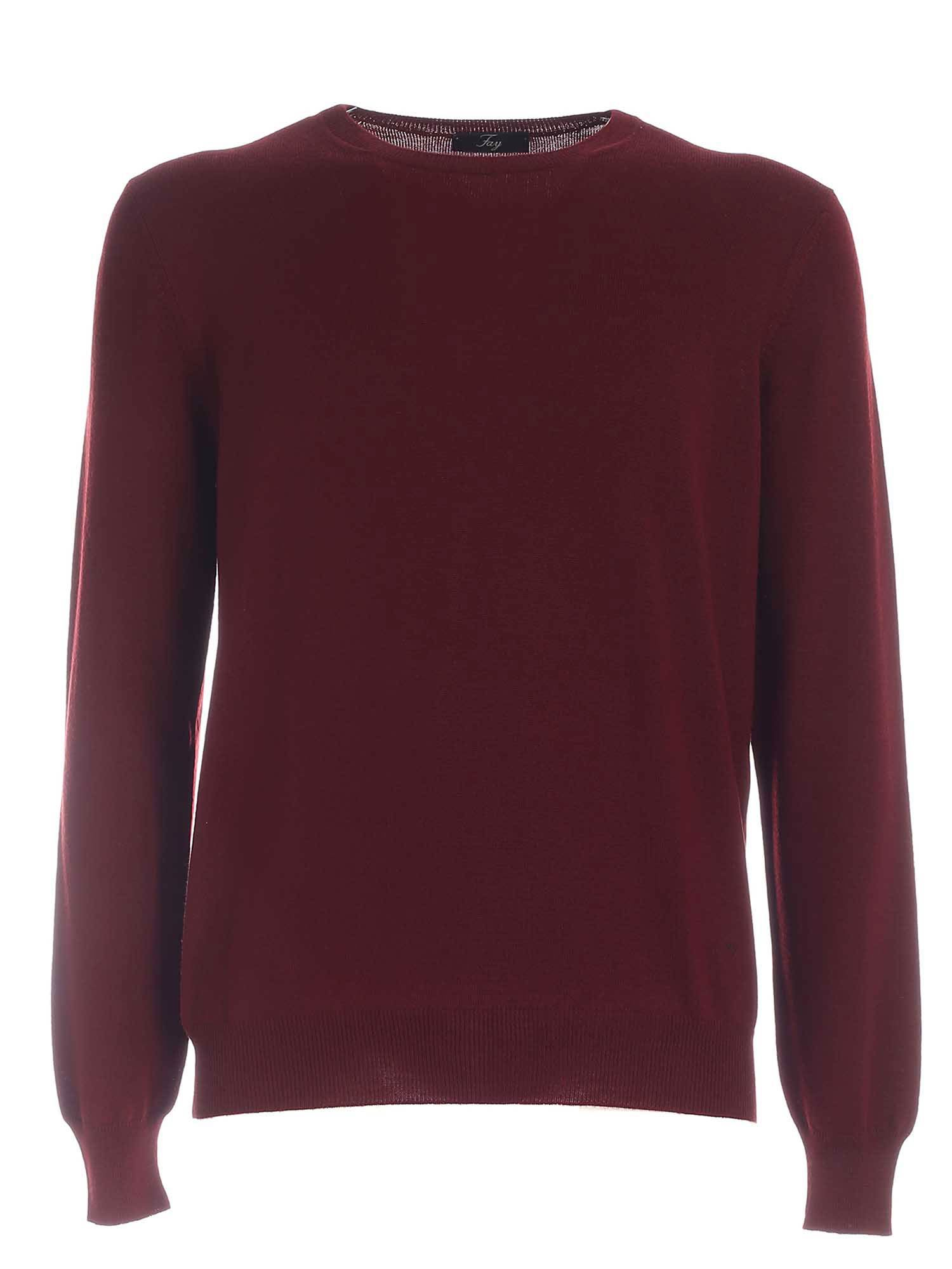 Fay Logo Embroidery Wool Crewneck Jumper In Red In Burgundy