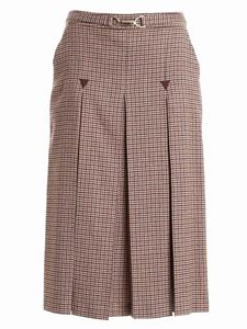 Seventy - Houndstooth skirt in beige and brown