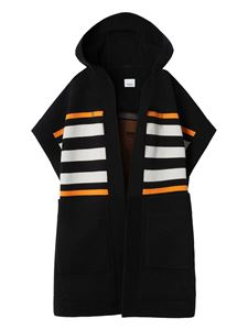 Burberry - Cashmere wool blend poncho in black