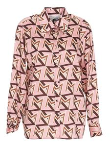 MSGM - Patterned satin shirt in pink