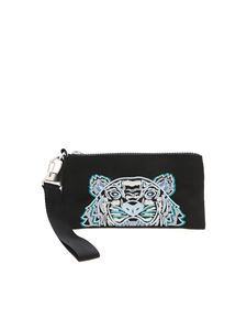 Kenzo - Tiger logo embroidery clutch bag in black
