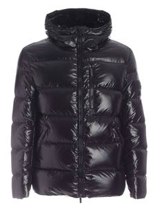 Hogan - Rubberized logo down jacket in black