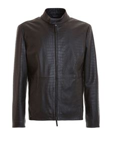 Armani Collezioni - Embossed cocco print leather jacket in black