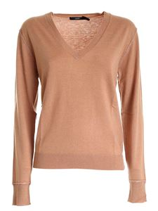 Seventy - Lamé edges pullover in camel color
