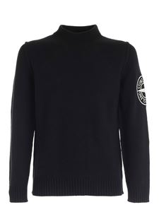 Stone Island - Pullover with maxi logo embroidery in black