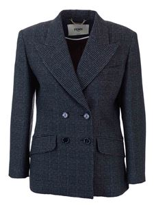 Fendi - Double-breasted checked blazer in blue