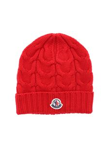 Moncler Jr - Logo beanie in red