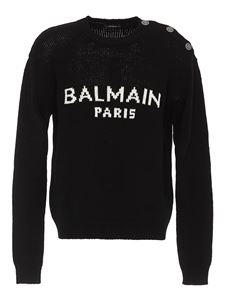 Balmain - Logo intarsia sweater in black