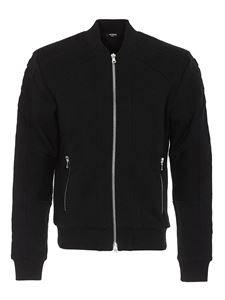 Balmain - Ribbed detail cotton bomber jacket in black