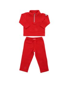 Moncler Jr - Completo in pile rosso con logo