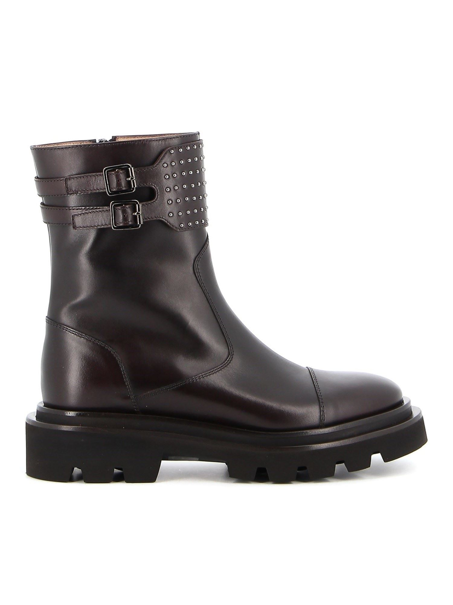 Fabiana Filippi STUDDED ANKLE BOOTS IN BROWN