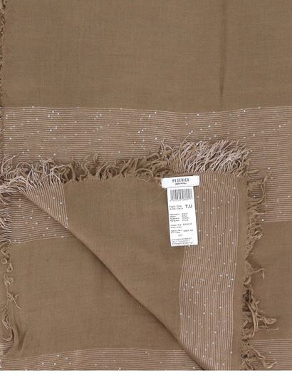 Peserico - Sequined wool blend scarf in camel colour