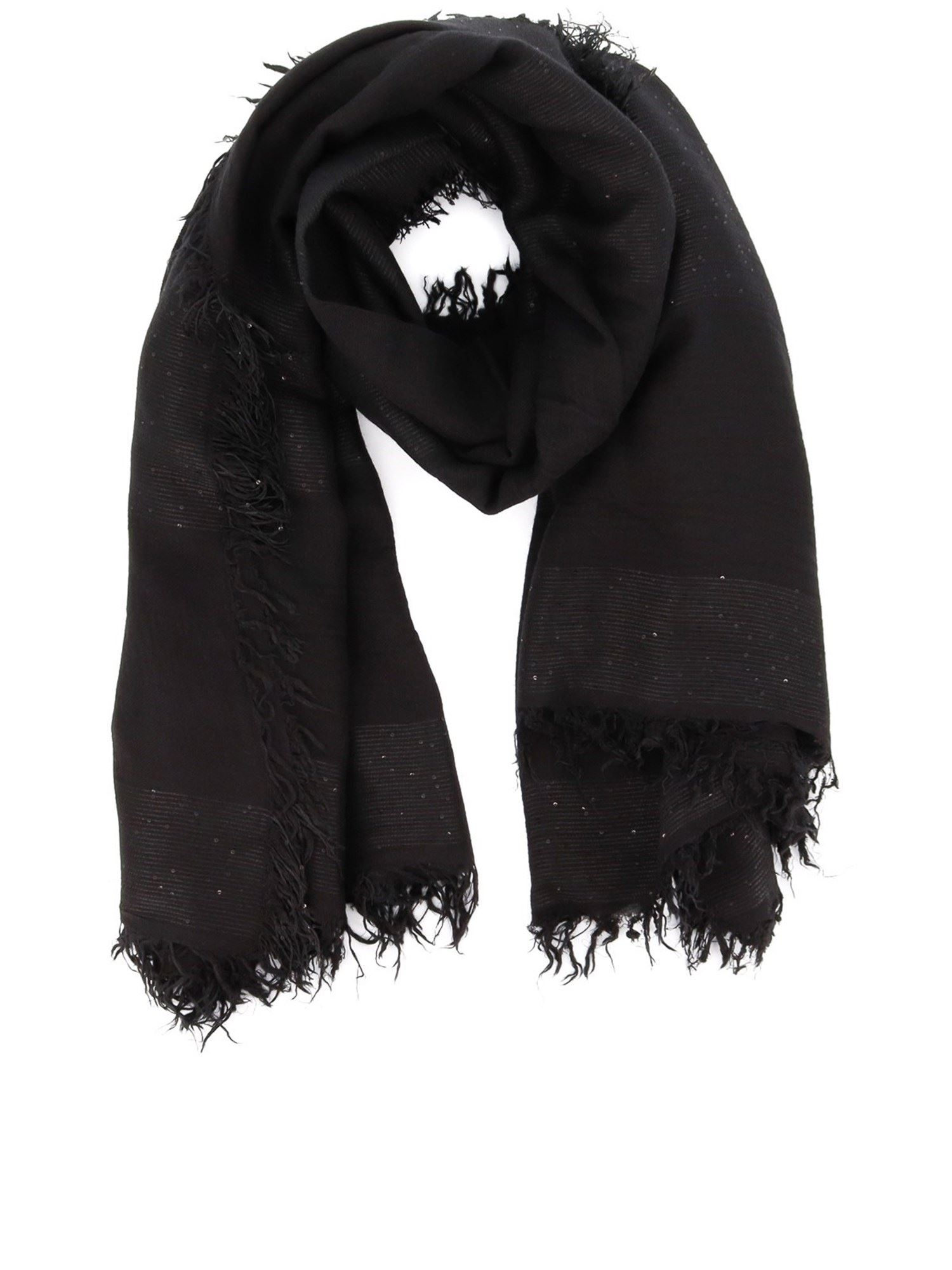 Peserico Scarves SEQUINED SCARF IN BLACK