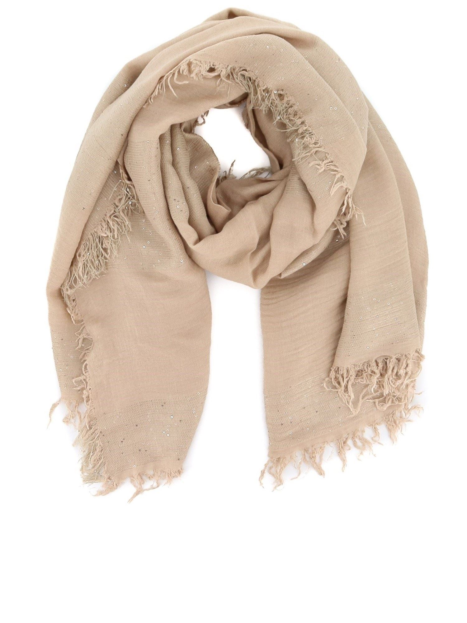 Peserico Scarves SEQUINED SCARF BEIGE