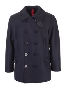 Fay - Double-breasted wool coat in blue