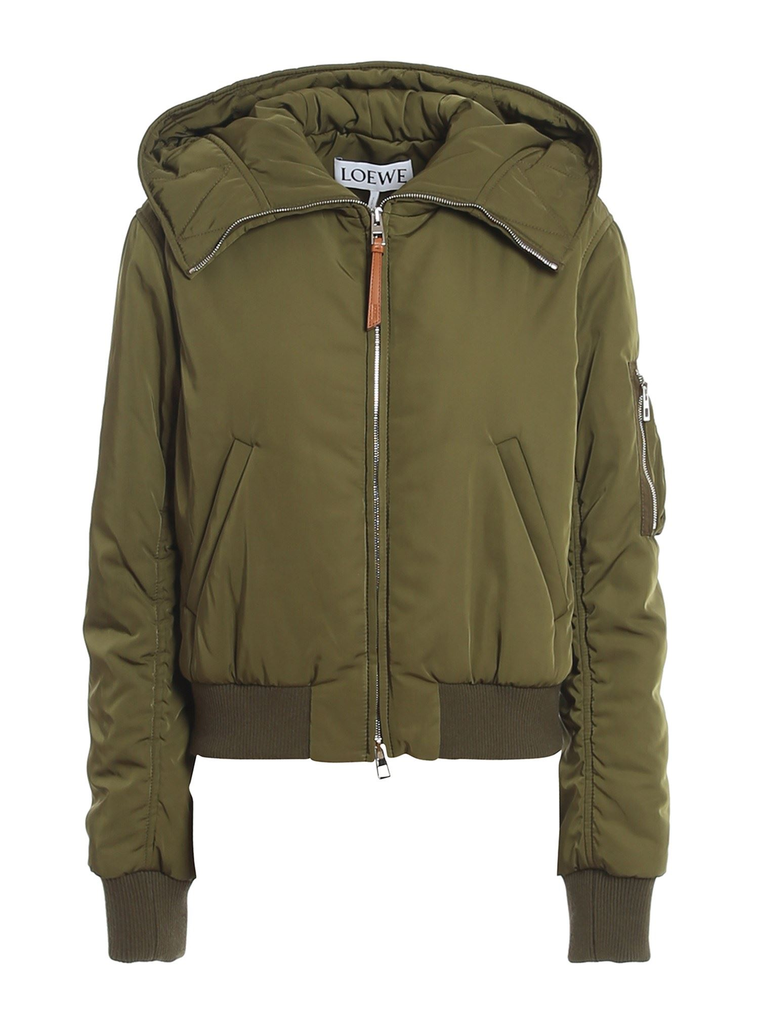 Loewe Downs CROPPED PUFFER JACKET IN GREEN