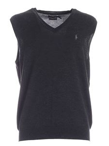 POLO Ralph Lauren - Logo embroidery knitted vest in dark grey