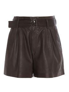 Parosh - Shorts in pelle con cintura marrone
