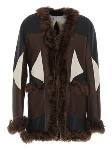 Parosh - Cappotto patchwork in pelle multicolor