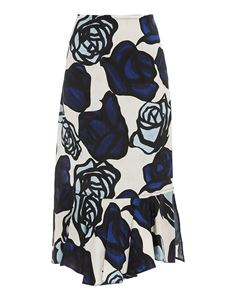 Marni - Floral print skirt in blue