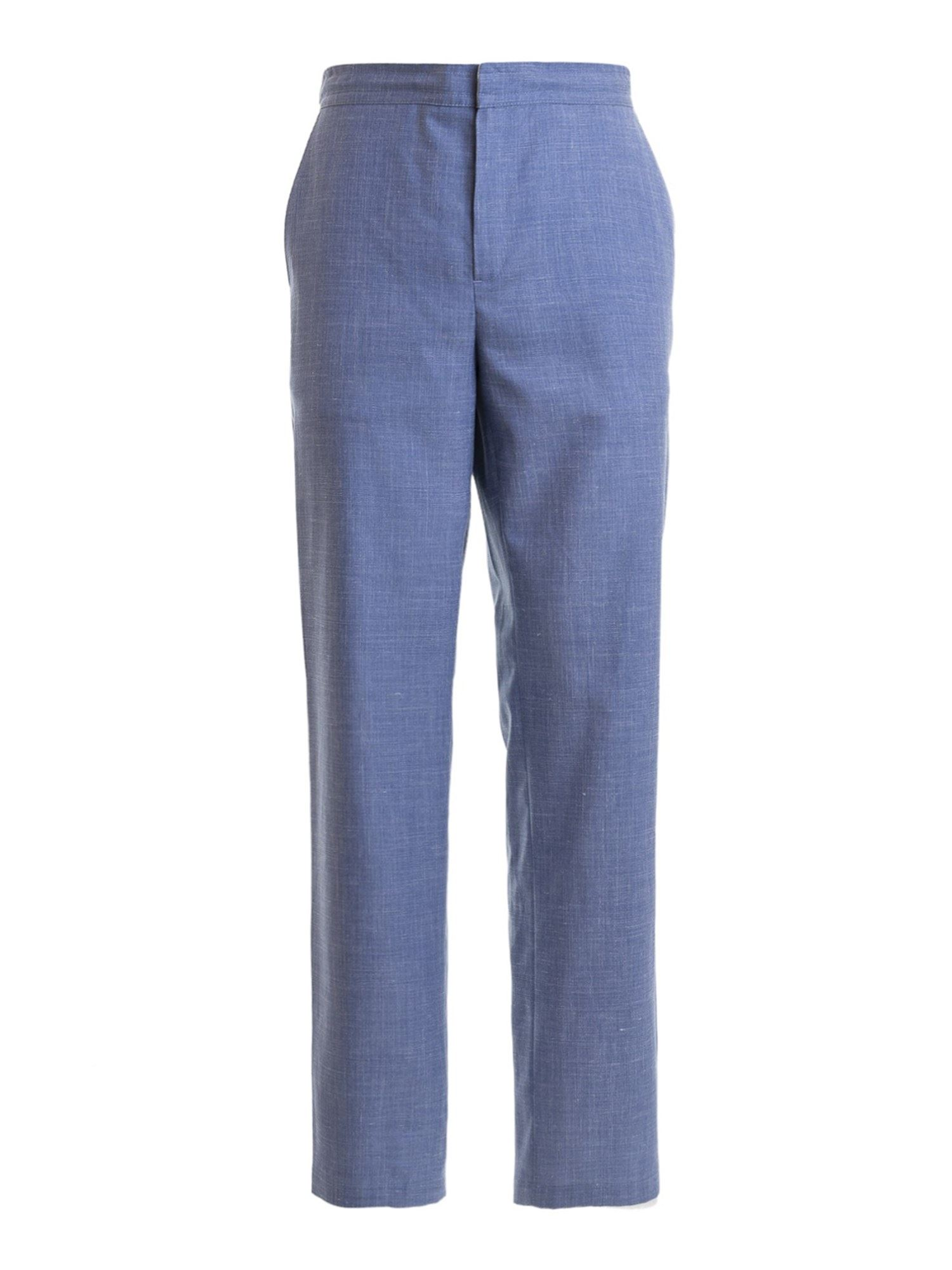 Brioni Light Blue Silk Blend Trousers