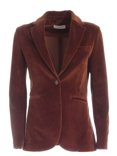 Circolo 1901 - Velvet single-breasted jacket in brown