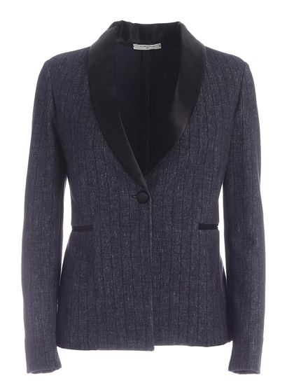 Circolo 1901 - Single-breasted blue jacket featuring satin detail