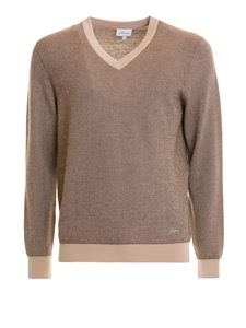 Brioni - Patterned mohair blend V neck sweater in brown