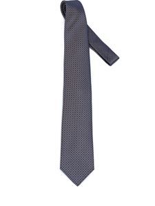 Brioni - Net micro pattern blue and brown silk tie