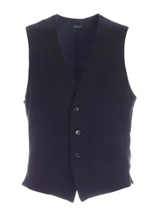 Brando - Single-breasted knitted vest in blue