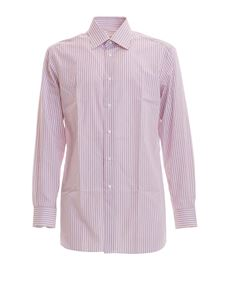 Brioni - Striped cotton shirt in red