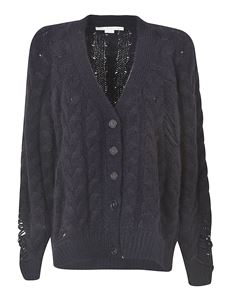 Stella McCartney - Worn effect cable cardigan in ink color
