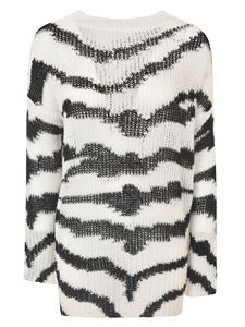 Stella McCartney - Brindle inlays sweater in white and black