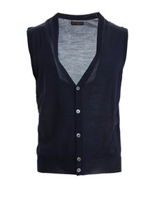 Corneliani - Blue knitted wool vest