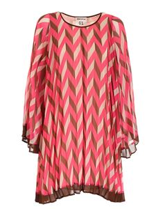 Semicouture - Loose fit dress in pink beige and brown